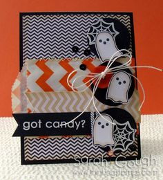 Using Reverse Confetti stamps, Pebbles paper, sequins, twine and chevron bitty bags!   See more here: http://thinkingstamps.blogspot.co.nz/2013/10/spooky-chevrons.html