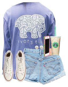 """""""Starbucks!!!"""" by maliaackermann ❤ liked on Polyvore featuring Converse, Lilly Pulitzer and Majorica"""