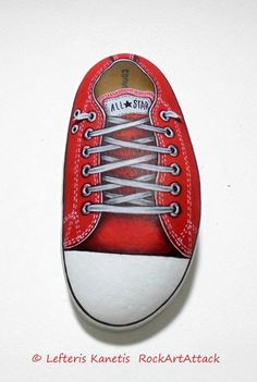 Red All Star Painted Stone !  Is Painted with high quality Acrylic paints and finished with Glossy varnish protection.