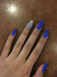 Nude nails, while popular, can be a bit of a snooze, but not with these cool nail designs and color accents. Blue And Silver Nails, Blue Gel Nails, Blue Coffin Nails, Bright Blue Nails, Zebra Nails, 3d Nails, Nail Nail, Summer Acrylic Nails, Blue Acrylic Nails Glitter