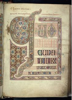 Gospel of Luke, The Lindisfarne Gospels, Anglo Saxon, ca. 700 AD