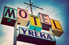 Yreka Motel Sign | Mid Century Modern Home Decor | Retro Wall Art | Googie Art | Pastel Home Decor |