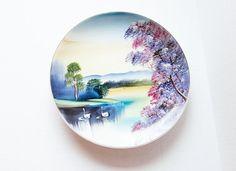 Swan Lake Vintage Hand Painted Plate Decorative Mid by jarmfarm,