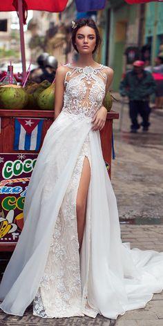 lorenzo rossi weddding dresses 2018 detailed top lace with slit chiffon skirt beach
