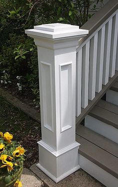 Front Steps, Railings and Newel Posts - Haus Aussen - Design RatBalcony Plants tan Furniture Front Porch Railings, Front Stairs, Front Porch Design, Porch Roof, Front Porch Pillars, Porch Trim, House With Porch, House Front, Veranda Design