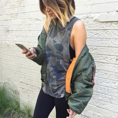 Loving the new Olympia drop on Stylerunner and still living in my Alpha bomber 🙌🏽🙌🏽🙌🏽 Olympia Activewear, Army Print, Camo, Rain Jacket, Windbreaker, Instagram Posts, Jackets, Drop, Style