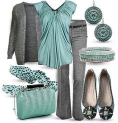 teal and grey work outfit