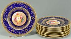12 George Jones Crescent & Sons Service Plates, cobalt : Lot 569