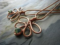 Hair Accessory- Dancing Peacocks - copper hair sticks with gorgeous lampwork.