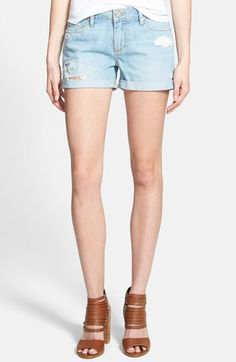 Paige Denim 'Jimmy Jimmy' Cuffed Denim Shorts (Loren Destructed Blue) available at #Nordstrom