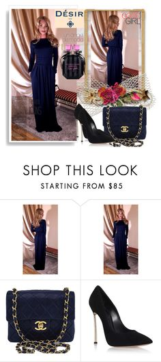 """""""Desir Vale 17"""" by sabinn ❤ liked on Polyvore featuring Chanel, Casadei, Victoria's Secret and plus size dresses"""