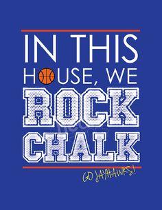 "jayhawk sports team blue wall art ""in this house we ROCK CHALK"" - digital file - 8.5x11"