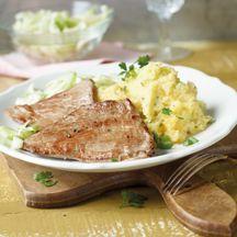 Kartoffel-Steckrüben-Stampf mit Schnitzeln