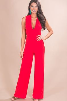 aefb398048ff5 Live From The Red Carpet Jumpsuit in Cherry. Impressions Online Boutique