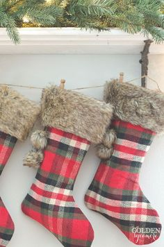 Cozy plaid Christmas stockings Vintage, rustic, cozy Christmas decor #JMholidaystyle #holidayhousewalk2015