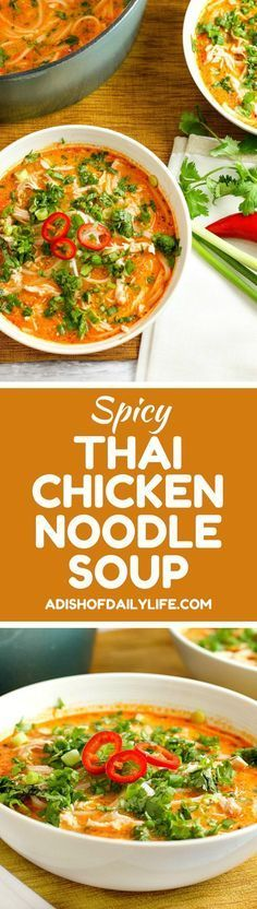 Skip the takeout! This delicious Thai Chicken Noodle Soup is easy to make at home with ingredients you can find in your local supermarket. If you love Thai food, you need to try this recipe! #thaifoodrecipes