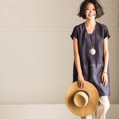 Nvay Art Fold Linen Summer T-shirt For Women C0230A