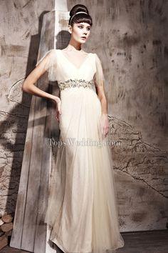 Nice A-Line Satin Champagne Short Sleeve Empire Rhinestone Holiday Dresses