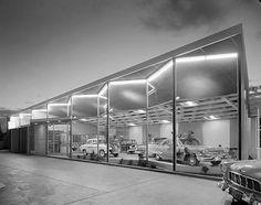 Leaton's Car showroom, Rockdale. Max Dupain photo, 1960.