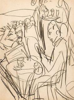 Ernst Ludwig Kirchner (1880-1938) -Oorspronkelijk was het de bedoeling gezamenlijk te werken, om zich los te maken van de uitgehold geachte academische stijltheorieën. Door deze collectiviteit blijft ontwikkeling van een eigen stijl lang uit, en is het soms moeilijk de werken uit een bepaalde periode aan de kunstenaars toe te schrijven. Vooral Kirchner en Heckel werkten erg overeenkomstig.