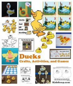 Ducks crafts, activities, folder games, lesson, science, printables