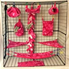 pink crushed tie dye * 15 PC Sugar Glider Cage set * Rat * double layer Fleece #Fuzzylovers