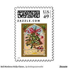 Bell Mistletoe Holly Christmas Bird Stamps