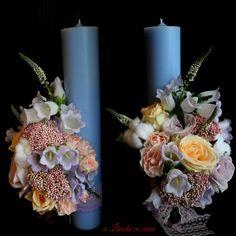 Pastel candles #wedding #floral #design #candles #madewithjoy #paula #paulamoldovan #livadacuvisini #atelierdulciurisiflori #flori #dulciuri #cadouri #aranjamente #florale #custom #floral #arrangements #events #bucuresti #nunta #evenimente Pillar Candles, Christening, Baby Room, Pastel, Wedding, Design, Craft, Valentines Day Weddings, Cake