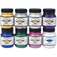 Jacquard Products Lumiere Metallic Acrylic Paint Pack), oz, Assorted Eight bottles of paint in Assorted colors Gorgeous metallic paints spread smoothly and stay flexible The product is easy to use Magenta, Metallic Bodies, Acrylic Set, Paint Set, Chalk Paint, Lights Background, Rice Paper, Metallic Paint, Paint Brushes