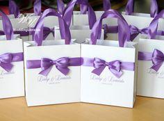 Lavender Wedding Gift Bags with satin ribbon bow by WeddingUkraine