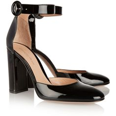 Gianvito Rossi Patent-leather pumps ($465) ❤ liked on Polyvore featuring shoes, pumps, heels, black patent leather shoes, black pumps, high heel shoes, high heeled footwear and black high heel shoes