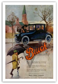 Vintage Auto Poster  1918 BUICK Advertising by southcoaststudio,