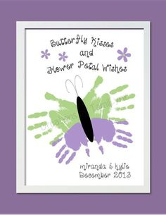 Butterfly Handprint Art for 1 or 2 Sets of Handprints - Personalized Baby Nursery, Child's Room, Parent, Grandparent Gift Daycare Crafts, Baby Crafts, Toddler Crafts, Crafts To Do, Preschool Crafts, Crafts For Kids, Spring Crafts, Holiday Crafts, Projects For Kids