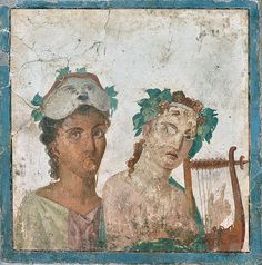 """Fresco from Pompeii. """"This figure of the lyre-player with an actor inspired Giuseppe Guerra. He painted on slate, for Marcello Venuti, the picture of the Muse"""" (from Herculaneum) Rome Antique, Art Antique, Ancient Rome, Ancient Art, Wall Paintings, Rome Painting, Art Romain, Pompeii And Herculaneum, Fresco"""