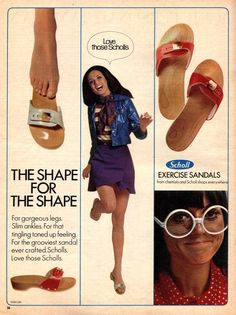 Dr. Scholl's vintage 70's ad for the Exercise Sandal.