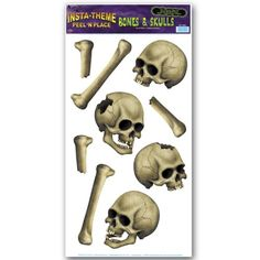 Beistle Skulls and Bones Peel N Place for Halloween Party 12-Inch by 24-Inch @ niftywarehouse.com #NiftyWarehouse #Halloween #Scary #Fun #Ideas