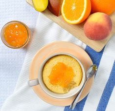 Peach Mango Orange Mug Cake - comes together in a snap in the microwave! - E.D.SMITH