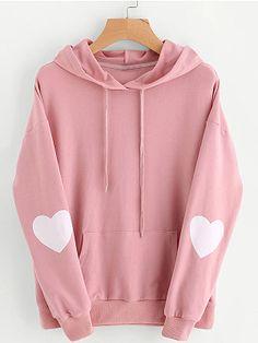 Macy Fashion Hoodies Womens Heart Hoodie Sweatshirt Long Sleeve Jumper Hooded Pullover Tops Blouse S Pink -- Read more at the image link. (This is an affiliate link) Hoodie Sweatshirts, Pullover Hoodie, Hoody, Mode Streetwear, Long Hoodie, Red Hoodie, Basic Hoodie, Red Shirt, Sweater Shirt
