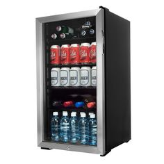 $269.99  Store up to 120 ice cold beverages in any room with this 3.3 cu. ft. bar fridge from Danby. Compact and stylish, this beverage centre looks good in any room, with a tempered glass door and stainless steel trim. It features 3.5 adj... Free shipping on orders over $25.