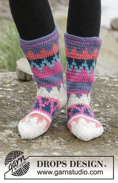 "Colorful Winter - Crochet DROPS socks with multi-colored pattern in ""Nepal"". - Free pattern by DROPS Design"