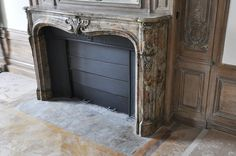 Beautiful antique Louis XV period fireplace in Sarrancolin Ilhet marble decorated with foliated cartouche - Marble Architectural Antiques, Marble Floor, Acanthus, 18th Century, Restoration, Carving, Shelves, Flooring, Beautiful