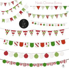 Nordic Christmas Bunting Clip Art Holiday Banner This set is a great addition to any Christmas craft. Use these to make jolly Christmas Invitations, Christmas Cards, Christmas Scrapbooks and so much more. by GoneDigital
