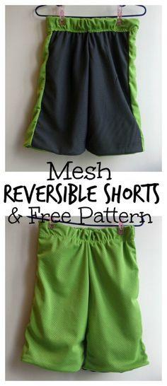 Reversible Mesh Shorts tutorial and free tutorial