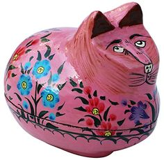 Special SALE Thinking Fat Cat Pink Jewelry Box Hand Painted 47 Cute Keepsake Coin Box Handmade Figurine Miniature Paper Mache Centrepiece Home Decor Gifts for Cat Lovers >>> To view further for this item, visit the image link. Cat Lover Gifts, Cat Gifts, Cat Lovers, Why Do Cats Purr, Cat Decor, Pink Cat, Pink Jewelry, Jewelry Box, Pink Paper