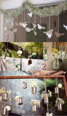 like the hanging flowers! Diy Wedding Backdrop, Wedding Flower Decorations, Flower Centerpieces, Flower Arrangements, Table Decorations, Diy House Projects, Diy Craft Projects, Girls Sleepover Party, First Communion Party