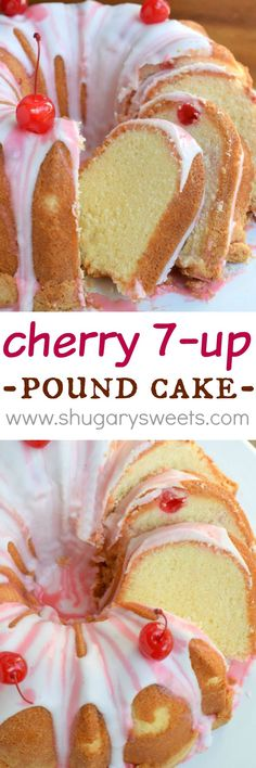 Pinner wrote: Cherry 7 Up Pound Cake is a classic, yet decadent treat. The crunchy crust with the sweet glaze makes this cake irresistible! 7up Pound Cake, Pound Cake Recipes, Köstliche Desserts, Delicious Desserts, Dessert Recipes, Plated Desserts, Bunt Cakes, Cupcake Cakes, Candy Cakes