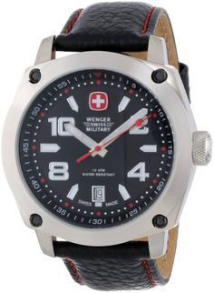 2112f1f20b3 Wenger Swiss Military Men s 69373 Outback Black Leather Analog Watch and Swiss  Army Knife Gift Set - - A watch that complements your active lifestyle