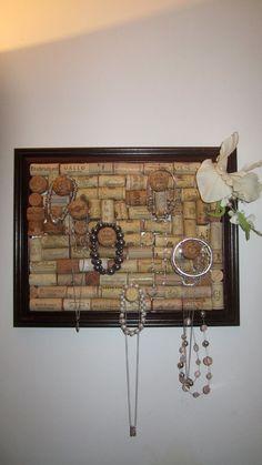 Customized Wine Cork Jewelry Holders/Cork Boards. $30.00, via Etsy.