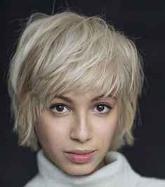 Short Shaggy Blonde Hairstyle Short Haircuts With Bangs, Short Hairstyles Fine, Short Layered Haircuts, Haircuts For Fine Hair, Hairstyles Haircuts, Blonde Hairstyles, Pixie Haircuts, Haircut Short, Layered Hairstyles