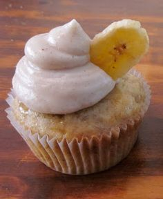 My Mess Their Kitchen: Bananas Foster Cupcakes~ Rusty said these were amazing. Can't wait to try them. Note from one person who tried them: I used rum instead of bourbon & had to make 2 batches of icing for all of the cupcakes. Mine made more than 24.
